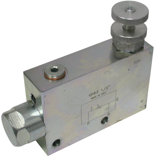 """3 WEGE STROMREGELVENTIL 1/2"""" Stahl, max. 350 bar Eingang max. 90 l/min. Regelstrom max. 55 l/min."""