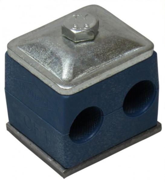 ZWEIROHRSCHELLE 12mm komplett GR1 2x Schellenkörper, Deckplatte oder Anschweißplatte, Sechskantschr
