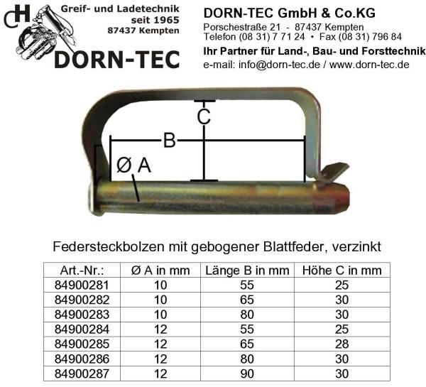 FEDERSTECKBOLZEN 10x65 verzinkt mit gebogener Blattfeder