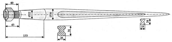 Ballenspieß 800mm, Gewinde M22x1,5 Ø 36mm